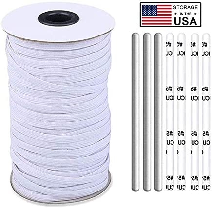 Elastic Band Elastic Band String 120 Yards 100 Meters 1 4 Inch Black and Nose Wire Strip 200pcs product image