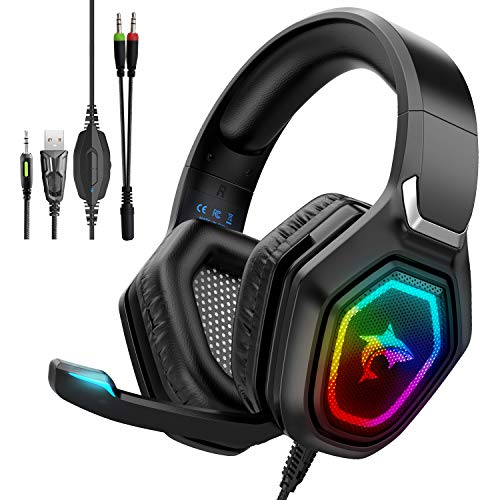 F3 Gaming Headset für PS5 PS4 Xbox One PC Nintendo Switch, Gaming Kopfhörer mit Mikrofon, RGB Licht, Over-Ear Verdrahtet Gaming Headsets mit Surround Sound, Inline-Steuerung & High End Qualität