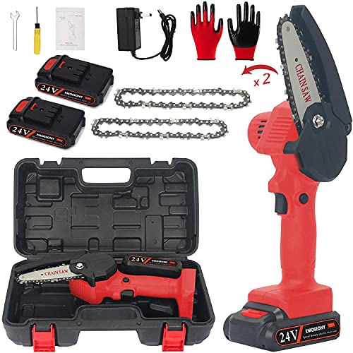 EMOSEONY Mini Chainsaw 4-Inch Cordless Power Chain Saws,Portable 24V Electric Chainsaw,Household Small Handheld Electric Saw for Gardening,Tree Pruning and Wood Cutting(Red,2 Batteries+Toolbox)