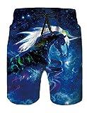 Fanient Herren 3D Einhorn Grafik Funny Badehosen Schnelltrocknend Strandkleidung Sports Laufen Swim Board Kurze Hosen XL