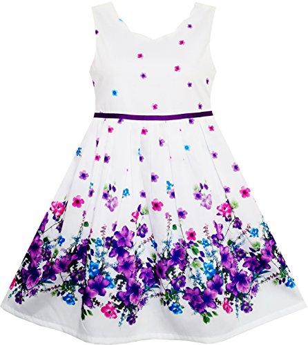 Sunny Fashion Mädchen Kleid Elegant Prinzessin Blühend Blume Im Wind Gr. 116/7 Jahre