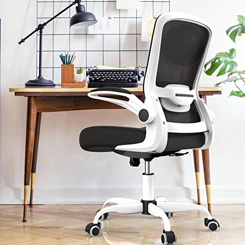 Mimoglad Office Chair, Ergonomic Desk Chair with Adjustable Lumbar Support, High Back Computer Chair Adjustable Height Swivel Task Chair with Rocking Function and Flip-up (Multi-White)