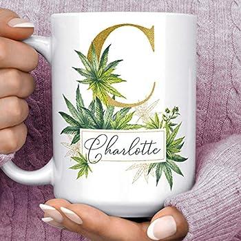 Marijuana Pot Leaf Custom Monogram Name Coffee Mug | Pretty Cannabis Gift Microwave Dishwasher Safe Personalized Cup