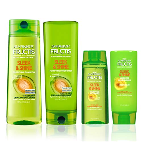 Garnier Hair Care Fructis Sleek and Shine Shampoo and Conditioner, For Frizzy, Dry Hair, Made with Argan Oil from Morocco, Paraben Free Formula, 1 Kit with Full Size and Travel Size
