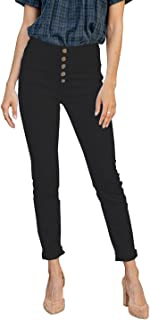 Sponsored Ad - KIRUNDO Women's Skinny Jeans with Buttons Solid Color Casual Stretchy High Waisted Slim Fit Pull on Jegging...
