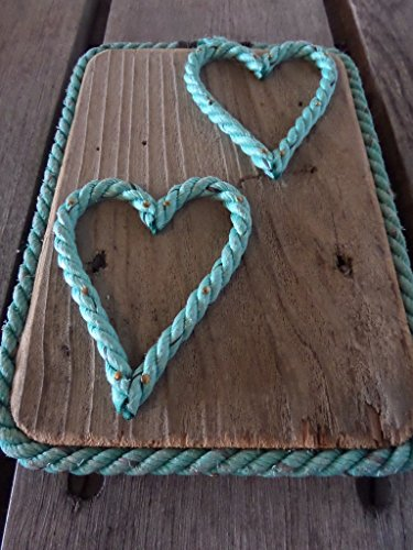 HEART Sign Made with Rope on Re-purposed Wood Great Gift for your Valentine Nautical Beach Lovers