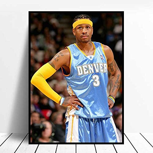 Rahmenloses Ölgemälde 30x45cm Basketball Iverson Poster Druck Druck Druck Schlafzimmer Wand Leinwand Dekoration Gemälde