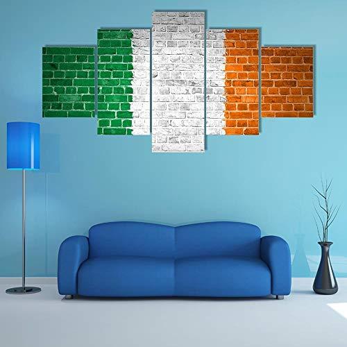 ARIE Leinwanddrucke 5 Stück Leinwand Bilder Wanddeko Wand Irland Flagge Auf Ziegelmauer Hd Poster Kunstwerke Malerei Weihnachten Kreative Geschenke