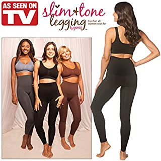 Slim-Tone Leggings;BLACK;Large