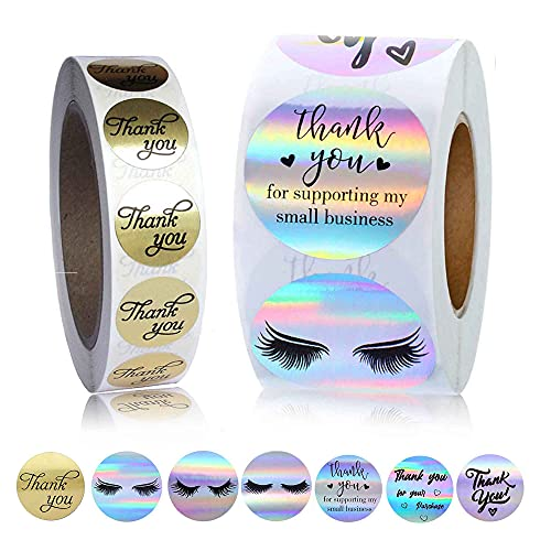 1000 Pcs Thank You Stickers,500 | 1.5 Inch Thank You for Your Purchase Rainbow Holographic Sticker Roll + 500 | 1 Inch Round Golden Thank You Sticker for Small Business Bag,Boxe and Envelope(7 styles)