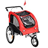 Giantex 2-in-1 Pet Dog Stroller W/Hitch, Suspension, Safety Flag and Reflectors, Dog Bike Trailer, Red