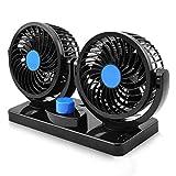 Ventilador de coche de doble cabeza 12 V de refrigeración eléctrica de aire 360 giratorio para SUV, RV Barco coche carrito de golf para auto casa camión