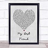 CEDBUYOO Tim McGraw My Best Friend Grey Heart Song Lyric Print 10' x 8' Inches