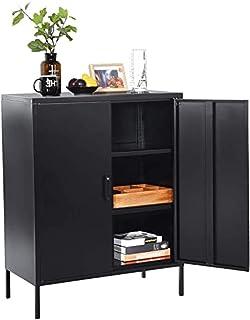 MEUBLE COSY Grand Espace Armoire chambre métallique 3 couches Meubles de Rangement pour Salon 2 Portes Buffet Cuisine Noir...