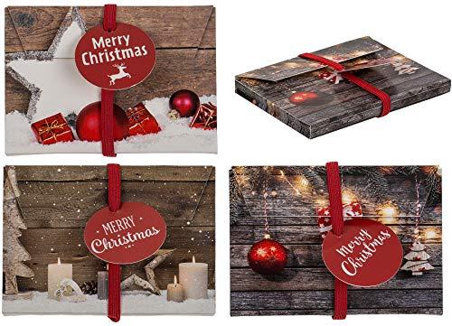 Geschenkumschlag Geldgeschenk Geschenkumschlag Weihnachten Wunscherfüller Weihnachtsgeschenk Weihnachtsgeschenke Weihnachtsumschläge (Braun Rot Weiß (Kugeln))
