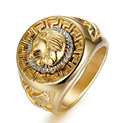 USUASI New Native American Style Titanium Steel Rings Men Big Lion Head Ring gold