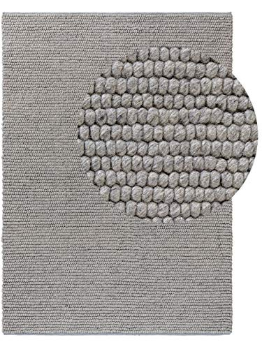 benuta NATURALS Wollteppich Beads Grau 80x150 cm - Naturfaserteppich aus Wolle