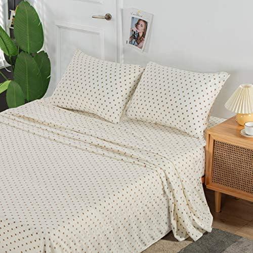 Nikazz 4 Piece Ultra Soft King Fleece Sheet Set Dots Print Pattern 100 Polyester Bedding Sheet product image