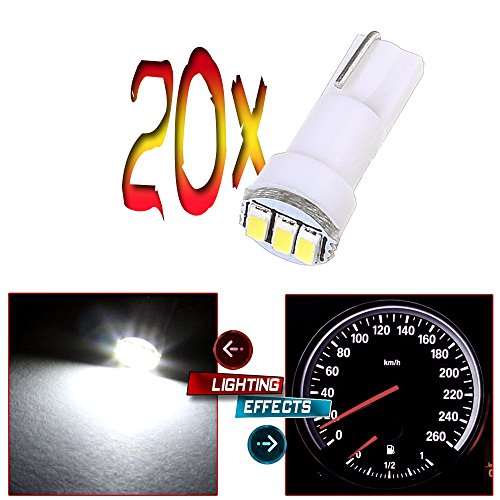 20x T5 17 74 73 3-3014SMD Instrument Gauge Dash Indicator LED Light Bulbs (White)