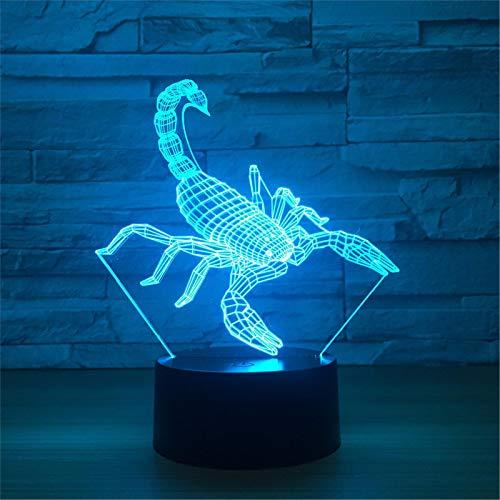 LBJZD luz de noche Lámpara Led Scorpion 3D 7 Colores Rgbw Decoración Para El Hogar Atmósfera Led Luz Nocturna Usb Led Luz De Decoración Especial Única Para Sin Mando A Distancia