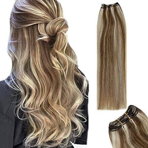 RUNATURE Haartressen Echthaar 30cm 12 Zoll Fabre 8P60 Haarverlängerung 50g 1 Bündel Echthaar Tressen Zum Einnähen Blond