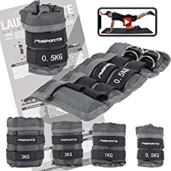 MSPORTS weight cuffs Professional-adjustable- pair of 0,5-3 kg foot and hand weights incl. Exercise poster + work out app FREE (3,0 kg pair)