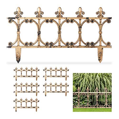 Relaxdays 6 Bordure per Aiuole in Stile Antico, Recinzione Decorativa da Giardino, Design Vintage, H: 24 cm, Color Rame, ColorRame, 1 Pezzo