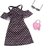 Barbie Mattel FXJ16 Cold-Shoulder-Dress schwar mit rosa Herzen - Fashion inkl. Brille und Tasche, Kleid, Mode, Fashion, Kleidung passend -