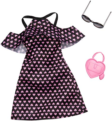Barbie Mattel FXJ16 Cold-Shoulder-Dress schwar mit rosa Herzen - Fashion inkl. Brille und Tasche, Kleid, Mode, Fashion, Kleidung passend