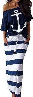 MISOMEE Women Anchor Top Maxi Skirt Set 2 Piece Outfit Dress