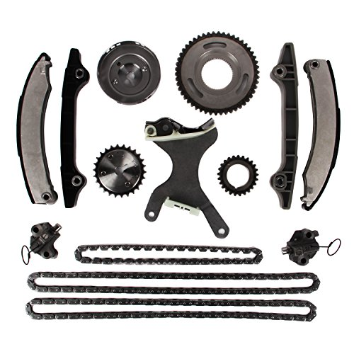 MOTORMAN Timing Chain Kit for 2004-2010 Dodge 2006-2010 Jeep Commander Grand Cherokee 2006-2009 Mitsubishi Raider 3.7L V6 Includes Replacement Chains, Gears, Guides, and Tensioners - 14 pc