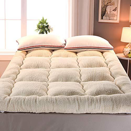 UNILIFE Espesar Cordero Terciopelo Tatami Primeros del colchón Futón, Plegable Dormitorio Colchón Protector Cubierta Cálido Cama alfombras Sleeping Pad-B 135x200x10cm