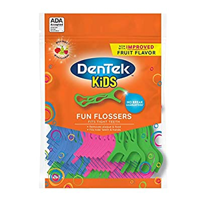 DenTek Kids Fun Flossers Wild Fruit | 75-Count Floss Picks | 4-Pack