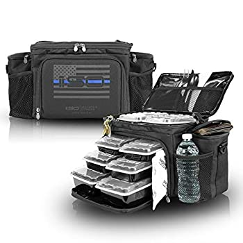 Meal Prep Insulated Lunch Bag - Isobag 6 Meal Thin Blue Line - Large Insulated 6 Meal Prep Bag/Cooler - Includes 12 Reusable BPA-Free Iso Containers 3 Ice Packs & Padded Shoulder Strap