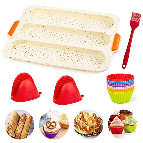 Stampo Plumcake Silicone, GuKKK Stampo per tortiera in Silicone con 12 Pcs Muffin Cup, Stampo per Pane Francese con Rivestimento Antiaderente, Riutilizzabile Teglia per il Pane