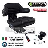 Kit Sedile + Cintura di Sicurezza con Arrotolatore Cermag per Trattore Universale Certific...