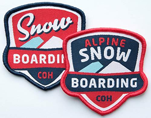 Club of Heroes 2er-Set Snowboard Abzeichen gewebt 60 mm/Alpine Snow-Boarding/Aufnäher Aufbügler Flicken Sticker Patch Wappen/Freestyle Winter Wintersport Ski Skiing Bindung Brille Hose Jacke