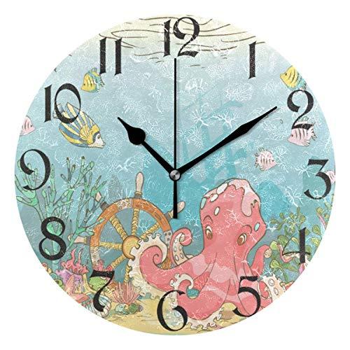 Jacque Dusk Reloj de Pared Moderno,Pulpo de mar bajo el Agua,Grandes Decorativos Silencioso Reloj de Cuarzo de Redondo No-Ticking para Sala de Estar,25cm diámetro