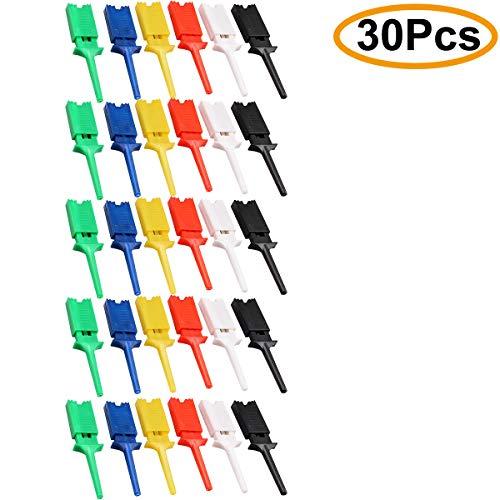 Clyxgs 6 farben mini smd ic test haken clip grabber probe jumper für elektronische experiment 30 stücke