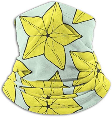 Ezreall Fleece-Nackenwärmer, multifunktionaler handgezeichneter Schal mit Carambola-Frucht-Sternfrucht-Muster, Vollmaske oder Hut, Nackenschutz, Nackenkappe, Skimaske, halb