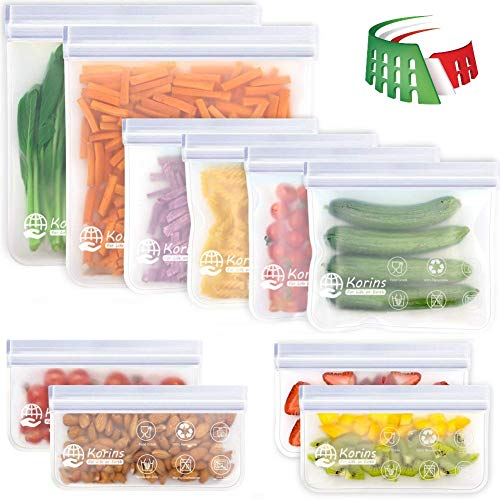 Korins Sacchetti per Alimenti Riutilizzabili, Sacchetti per Congelatore in Silicone da 10 Pezzi Sacchetti per Frutta a Prova di Perdite Senza BPA per Casa e Viaggio (2 Galloni e 4 Sandwich e 4 Snack)