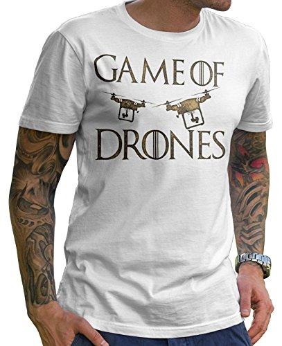 Stylotex Herren T-Shirt Basic Game of Drones, Farbe:Weiss;Größe:L