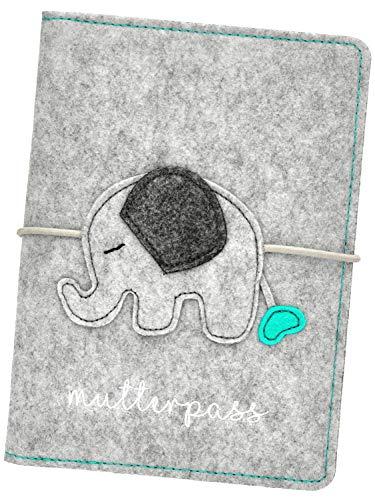BabyCheek Mutterpasshülle Filz Elefant mit Gummiband Verschluss - Hülle für Mutterpass Ultraschallbild Impfpass - Süßes Geschenk für werdende Mütter in der Schwangerschaft