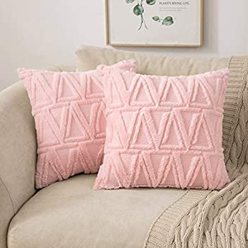 MIULEE Decorative Throw Pillow Covers Spring Rustic Embroidered Plush Short Faux Wool Pillowcase Accent Super Soft Cushion Case Shell for Sofa Bedroom Square Set of 2 Light Pink 18x18 Inch