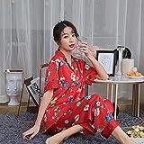 Conjunto De Pijamas Casual Mujer Verano Otoño Ropa De Dormir Satén Slik Tejer Pantalones De Manga Corta Ropa De Hogar Elegante PJ Set L Color02