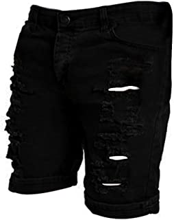 Men's Casual Jeans Destroyed Knee Length Hole Ripped Pants