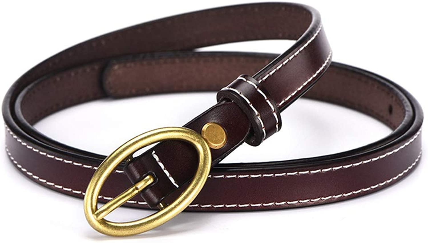 Women's Cowhide Leather Jeans Belts with Single Prong Buckle (color   Coffee)