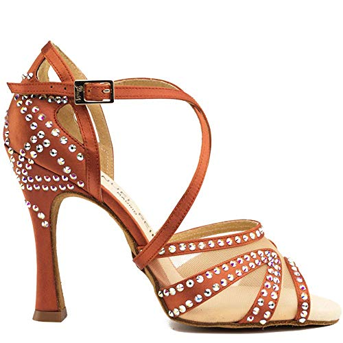 Manuel Reina - Zapatos de Baile Latino Mujer Salsa Flex 10 Copper - Bailar Bachata, Salsa, Kizomba