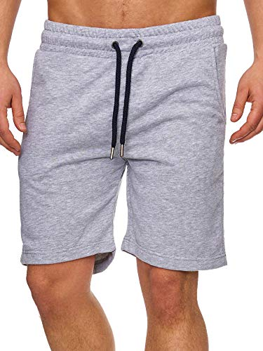 Tazzio Herren Sweatshort Jogginghose Fitnesshose Traininghose Sweatpants Sporthose Freizeithose 17600 Grau L