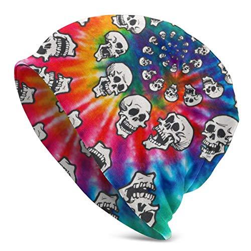 Gorro unisex con impresión 3D de arcoíris en espiral, calaveras, teñido, calaveras, calaveras, calaveras, para invierno y verano